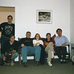 Rich (Standing) Campbell with the group mascot Greta, David, Abby, Mary and Wei