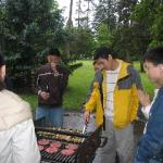 Liang cooking on the grill
